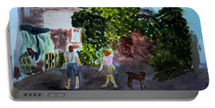 Portable Battery Charger featuring the painting West End Shopping by Donna Walsh