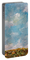 Portable Battery Charger featuring the painting West Field Seedlings by Judith Rhue