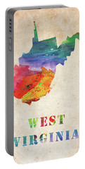West Virginia Colorful Watercolor Map Portable Battery Charger