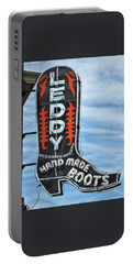 Portable Battery Charger featuring the photograph Western Boot Sign by David and Carol Kelly