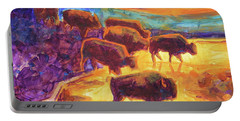 Western Buffalo Art Bison Creek Sunset Reflections Painting T Bertram Poole Portable Battery Charger