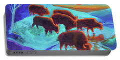 Western Buffalo Art Six Bison At Sunset Turquoise Painting Bertram Poole Portable Battery Charger