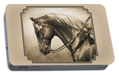 Western Horse Painting In Sepia Portable Battery Charger by Crista Forest