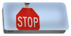 Western Meadowlark Singing On Top Of A Stop Sign Portable Battery Charger