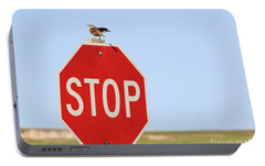 Western Meadowlark Singing On Top Of A Stop Sign Portable Battery Charger by Louise Heusinkveld