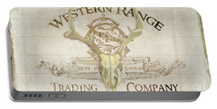 Western Range 3 Old West Deer Skull Wooden Sign Trading Company Portable Battery Charger by Audrey Jeanne Roberts