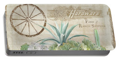 Western Range 4 Old West Desert Cactus Farm Ranch  Wooden Sign Hardware Portable Battery Charger by Audrey Jeanne Roberts