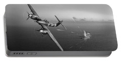 Portable Battery Charger featuring the photograph Westland Whirlwind Attacking E-boats Black And White Version by Gary Eason