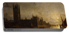 Westminster Abbey, The Houses Of Parliament With The Construction Of Westminster Bridge Portable Battery Charger