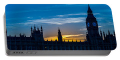 Westminster Parlament In London Golden Hour Portable Battery Charger