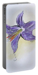 Portable Battery Charger featuring the painting Wet Flower by Clyde J Kell