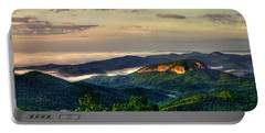 Portable Battery Charger featuring the photograph Looking Glass Rock Sunrise Between The Clouds Blue Ridge Parkway by Reid Callaway