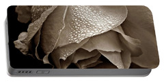 Wet Rose In Sepia Portable Battery Charger