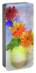 Portable Battery Charger featuring the painting Wet Zinnias by Sandy McIntire