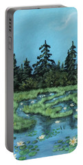 Portable Battery Charger featuring the painting Wetland - Algonquin Park by Anastasiya Malakhova