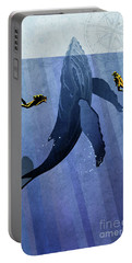 Portable Battery Charger featuring the painting Whale Dive by Sassan Filsoof