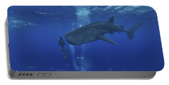 Whale Shark And Diver, Maldives Portable Battery Charger