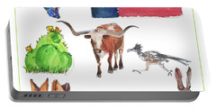 What Texas Loves, Texas Longhorn Watercolor Painting By Kmcelwaine Portable Battery Charger by Kathleen McElwaine