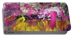 Whatever Makes You Happy - Large Pink And Yellow Abstract Painting Portable Battery Charger