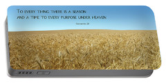 Portable Battery Charger featuring the photograph Wheat Field Harvest Season by Steven Frame