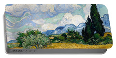 Portable Battery Charger featuring the painting Wheatfield With Cypresses by Van Gogh
