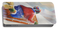 Portable Battery Charger featuring the painting Wheee by Marilyn Jacobson