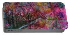 When Cherry Blossoms Fall Portable Battery Charger by Donna Blackhall