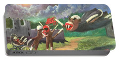 Portable Battery Charger featuring the painting When Sock Monkeys Become Vampires by Randol Burns