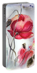 Portable Battery Charger featuring the painting When The Mists Fall Down by Anna Ewa Miarczynska