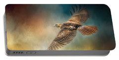 When The Redtail Flies At Sunset Hawk Art Portable Battery Charger