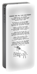 Portable Battery Charger featuring the drawing Where Are All The Unicorns by John Haldane