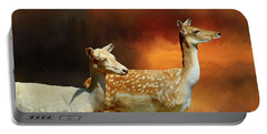 Two Deer At Sunset Portable Battery Charger