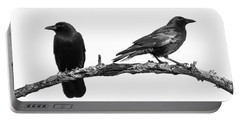 Which Way Two Black Crows On White Square Portable Battery Charger