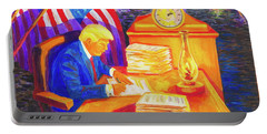 Portable Battery Charger featuring the painting While America Sleeps - President Donald Trump Working At His Desk By Bertram Poole by Thomas Bertram POOLE