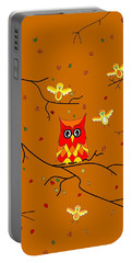 Whimsical Autumn Colors - Birds Owls Portable Battery Charger