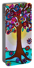 Portable Battery Charger featuring the painting Whimsical Blooming Tree by Pristine Cartera Turkus
