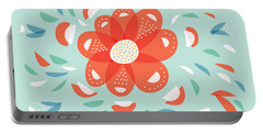 Whimsical Red Flower Portable Battery Charger