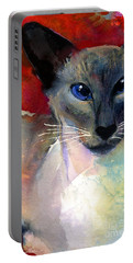 Whimsical Siamese Cat Painting Portable Battery Charger