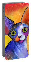 Whimsical Sphynx Cat Painting Portable Battery Charger