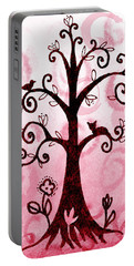 Whimsical Tree With Cat And Bird Portable Battery Charger