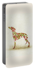 Portable Battery Charger featuring the painting Whippet Watercolor Painting / Typographic Art by Inspirowl Design
