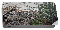 Portable Battery Charger featuring the painting Whispering Pines by Marilyn  McNish