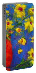 Abstract Floral Art, Modern Impressionist Painting - Palette Knife Work Portable Battery Charger