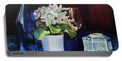 Portable Battery Charger featuring the painting White African Violets by Marlene Book