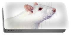 White Albino Rat Watercolor Portable Battery Charger