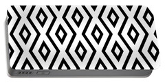 White And Black Pattern Portable Battery Charger