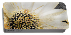 White And Gold Daisy Portable Battery Charger by Mindy Sommers