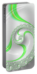 White And Green Spiral Elegant And Minimalist Portable Battery Charger