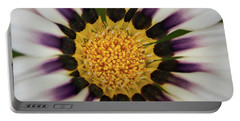 White And Purple Zinnia With Yellow Portable Battery Charger