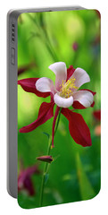 White And Red Columbine  Portable Battery Charger